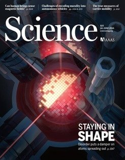 <em><em>Science Cover Vol 352, Issue 6293, 24 June 2016, </em>to highlight the research published in this issue (see original publication).<em> The cover shows an artist's view of the experiment, illustrating the persistence of the density step of an atomic distribution in an optical lattice</em>. </em>
