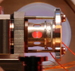 The high-finesse cavity in which we capture and probe single atoms.