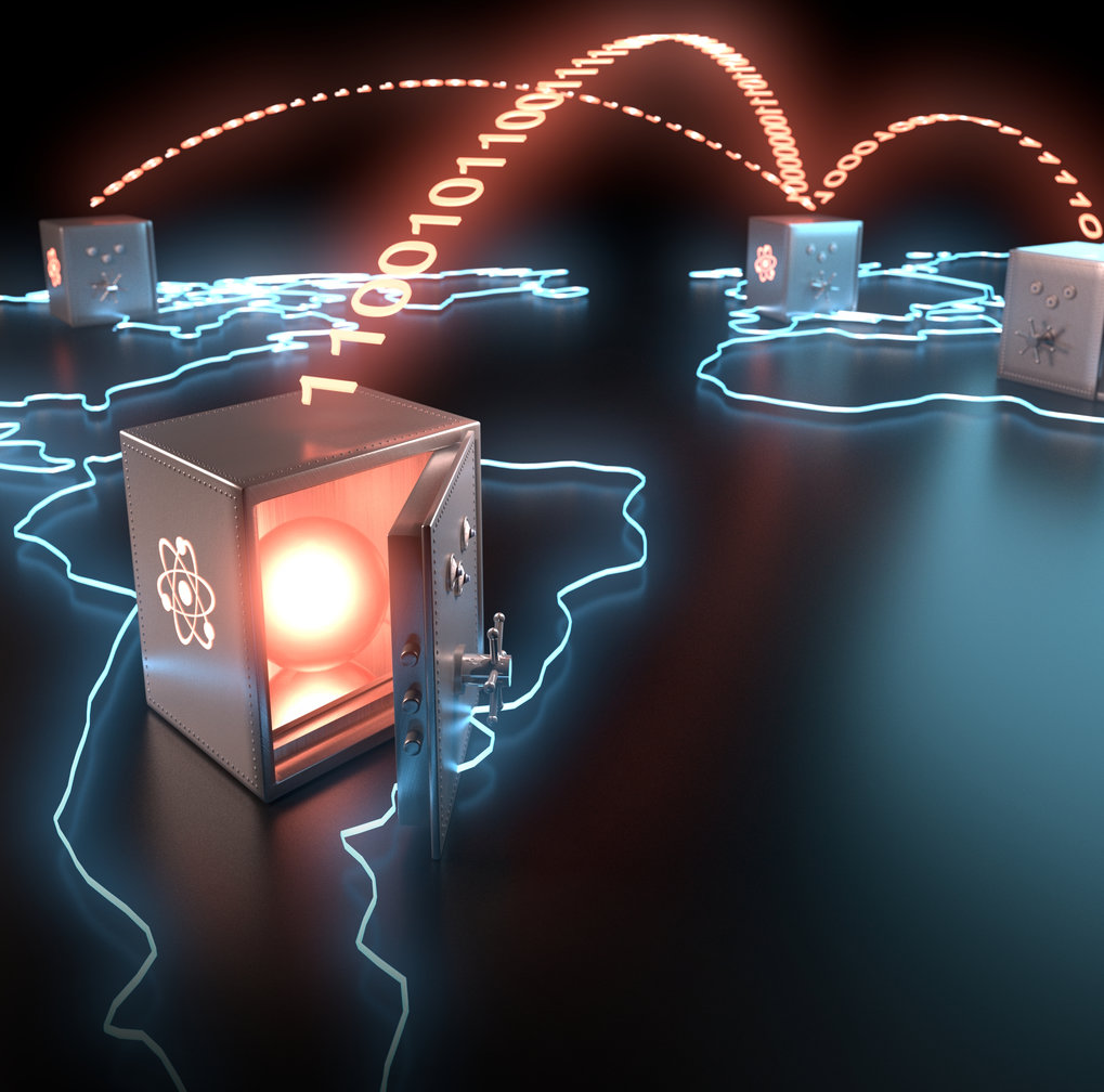 <em>Artist's view of global teleportation of quantum bits</em>.