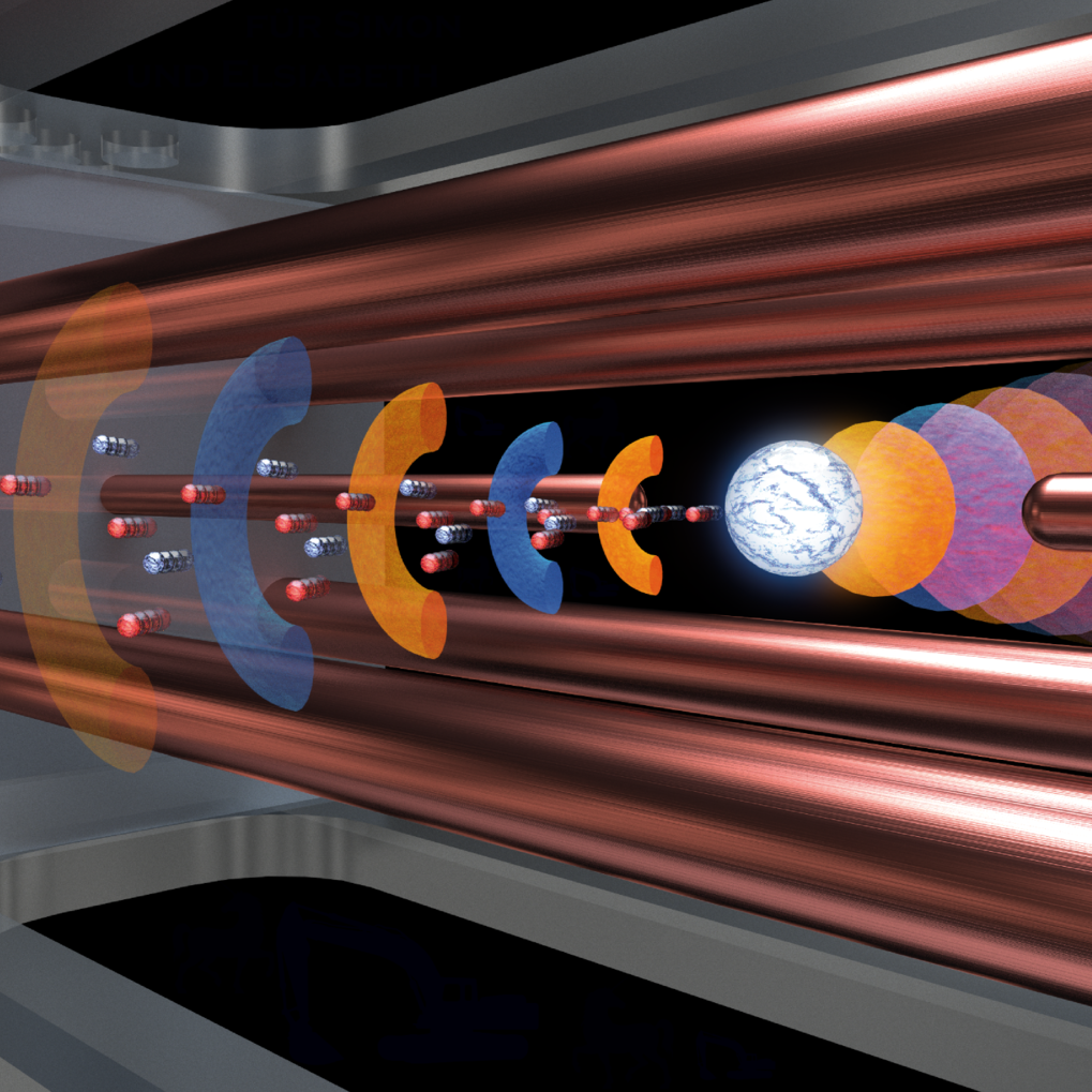 <em>Artist's impression of the laser-plasma interaction: The laser beam approaches the electrodynamic particle trap from the left and impinges on the levitated plastic microsphere, accelerating a bunch of electrons and protons</em>.