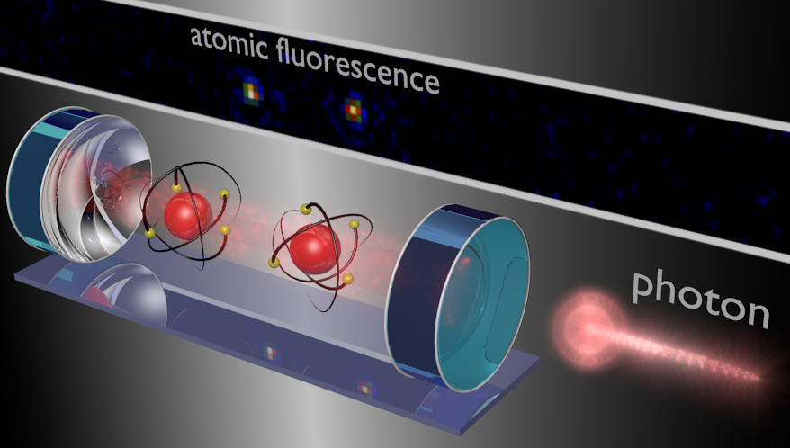 <em>Illustration of the experimental setup: From the right, single photons (bright red) impinge on an optical cavity in which two atoms (red bullets) are trapped. Because of the strong atom-light field coupling a long-range interaction is mediated between the atoms that can be used to realize gate operations. Following each gate operation, the resulting two-atom state is read out by resonantly probing the cavity transmission and the atomic fluorescence.</em>